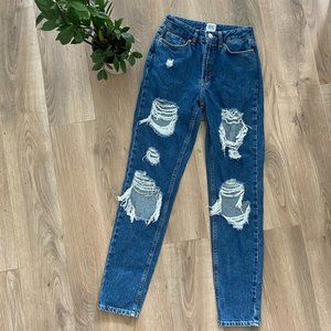 """BDG Mid-Blue """"Mom High-Rise"""" Distressed Jeans"""